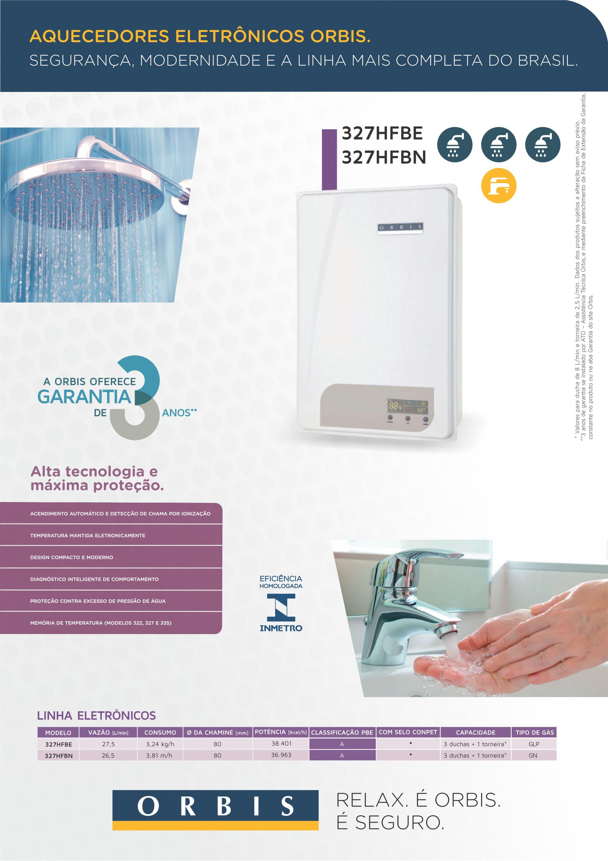 Aquecedor de Água ORBIS 327 HFB E/N GLP  27.5 Lts/Minuto
